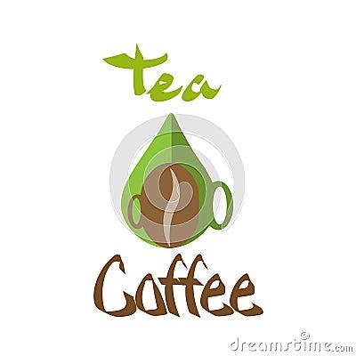 Logo coffee tea Cup silhouette Stock Photo