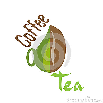 Logo coffee tea Cup silhouette with text drawing Vector Illustration
