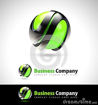Logo d affaires du vert 3D