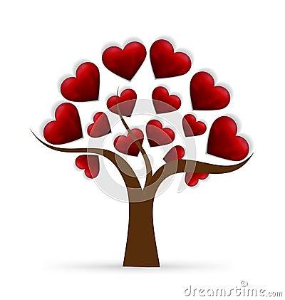 Logo d 39 amour de coeur d 39 arbre illustration de vecteur - Imagenes de corazones navidenos ...