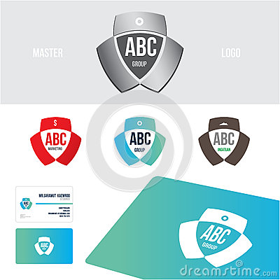 Logo design set Business card