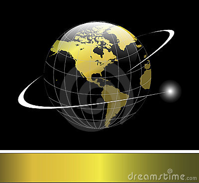 Free Logo Earth Globe Gold Stock Image - 13946721