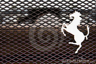 Logo of Ferrari horse on a cowl Editorial Photo