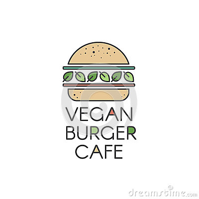 Free Logo For Vegan Or Vegetarian Burger Grill Cafe Or Restaurant, Vegan Burger With Fresh Salad And Organic Vegetables Stock Photos - 82544273
