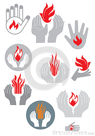 Logo. Hands and fire. (vector set)
