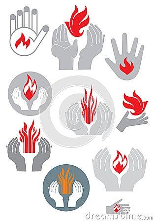 Logo. Hands and fire. (vector set)