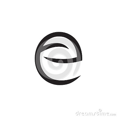 Logo letter E with leaves and arrows - Vector Stock Photo