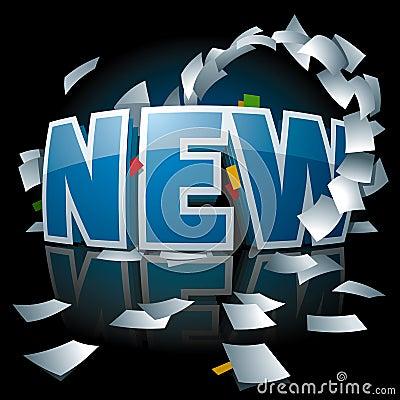 Logo neuf avec le tourbillon de papier autour de lui