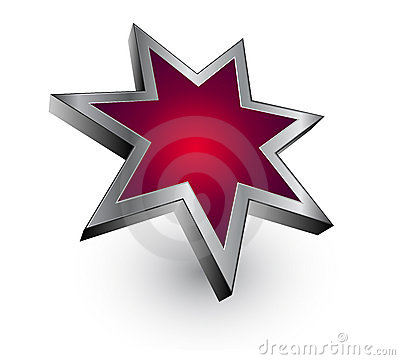 Logo red metallic star - vector