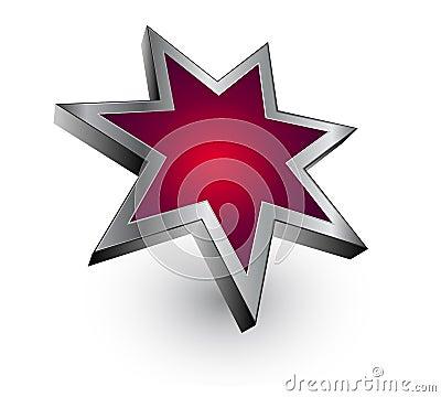 Logo red metallic star - vector