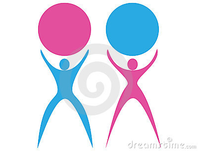 Logo silhouette male and female