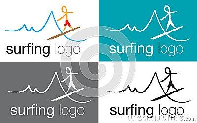 Logo surfing on sea wave