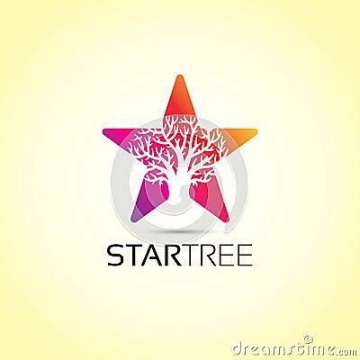 Star Tree Logo Vector Illustration
