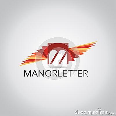 M Letter Wings Logo Stock Photo