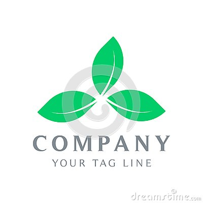 The logo template of three leaves forms a triangle Vector Illustration