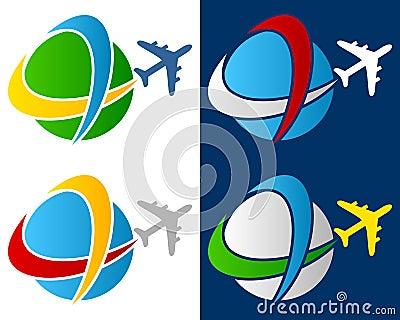 Logotipo do avião do curso do mundo