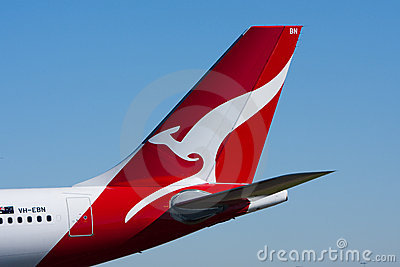 Logotipo do canguru do jato das linhas aéreas de Qantas Foto Editorial