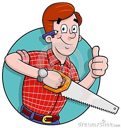 Logotipo do carpinteiro dos desenhos animados
