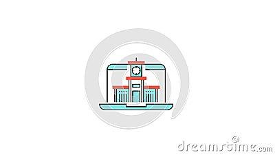 Logotipo video en línea de la animación de la escuela del edu o del aprendizaje electrónico ilustración del vector