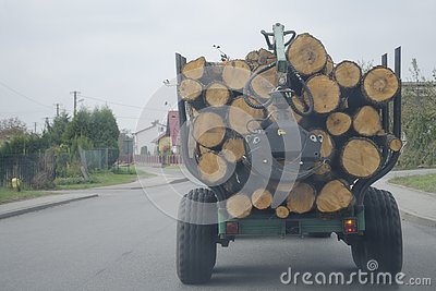 The logs are stacked on top of each other in the car. Stock Photo