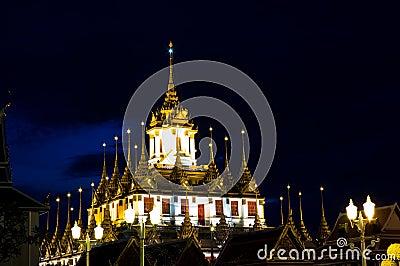 Loha Prasat Metal Palace at night