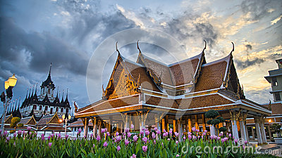 Loha Prasat and Wat Ratchanadda Temples at sunset
