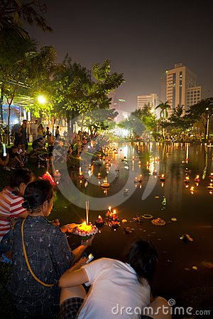 Loi Krathong Bangkok Lake Lights Editorial Stock Photo