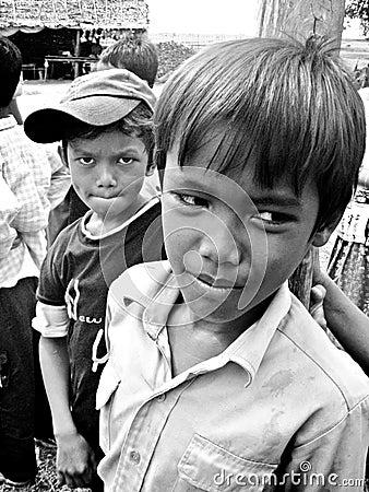 Khmer przyjaciele Fotografia Editorial