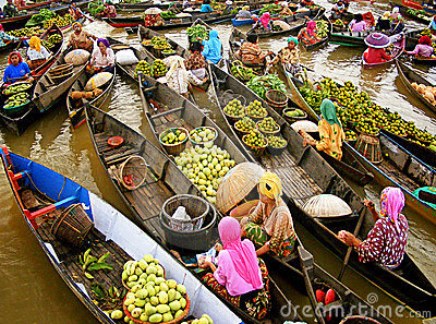 Lokbaintan Floating Market Editorial Image