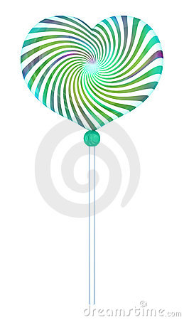 Lolipop shape of heart with hypnotic drawing.