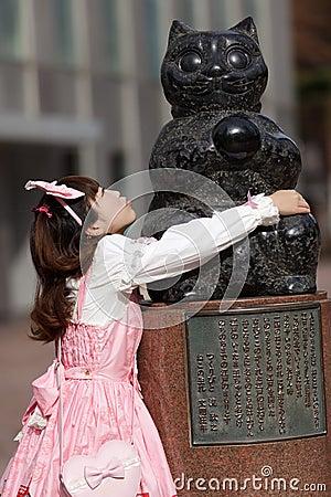 Lolita and cat statue