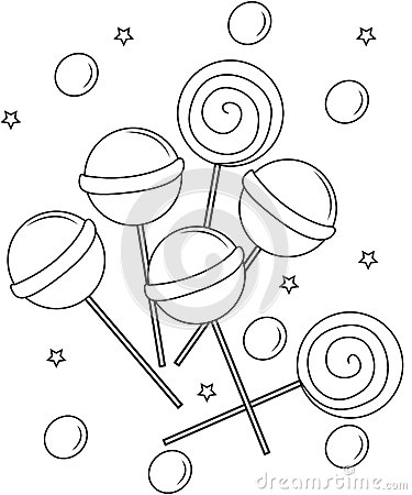 Lollipops Coloring Page Stock Illustration