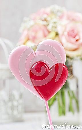 Lollipops in heart shape