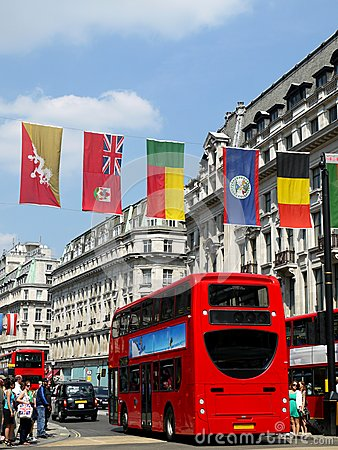 London 2012: flags in Oxford Street Editorial Stock Image
