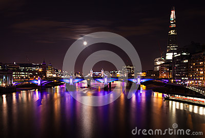 London  2012, floodlit bridges, Editorial Photo