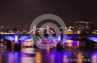 London  2012, floodlit bridges, Editorial Stock Image