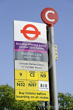 London 2012 Games bus disruptions Editorial Stock Image