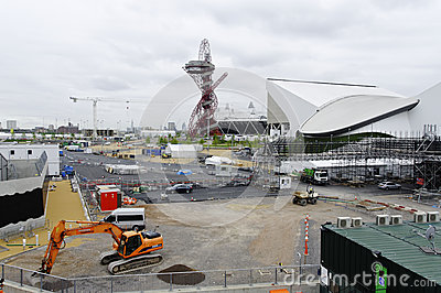 The London 2012 olympic park under construction Editorial Photo