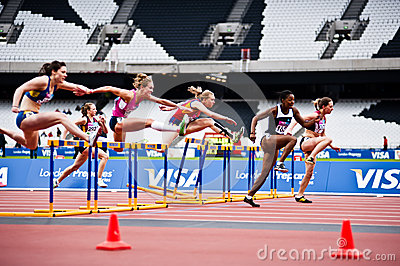 London 2012 test events: 100m hurdles  Editorial Stock Image