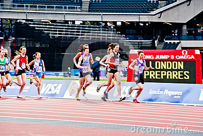London 2012 test events: women s 3000m Editorial Stock Photo