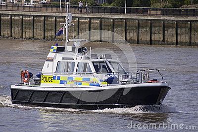 London, 8 August, 2012-Police boat patrolling on the river Thame Editorial Photography