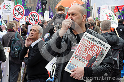 London Austerity Protest Editorial Stock Image