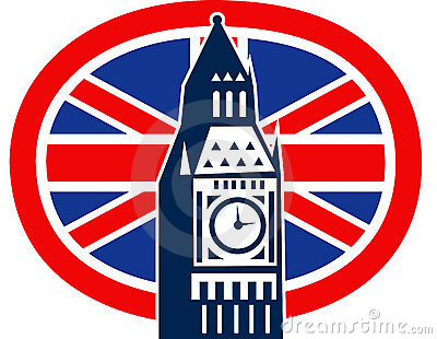 London Big Ben British Union Jack flag