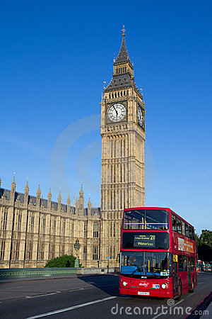 London Big Ben and Bus Editorial Stock Photo