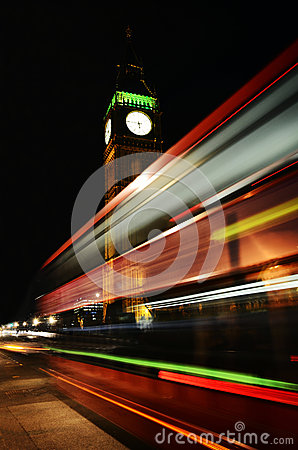 Free London, Big Ben, Bus In Motion Royalty Free Stock Image - 35416126