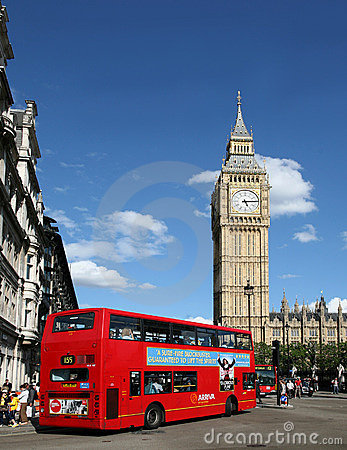 London, Big Ben and Double Decker Bus Editorial Stock Photo