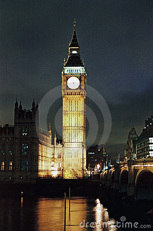 London, Big Ben and Houses of Parliament at night Editorial Stock Image