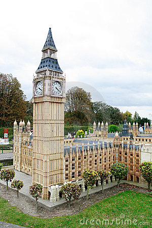 London Big Ben and Parliament in Mini Europe park Editorial Image