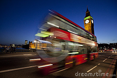 London Big Ben and red bus at night