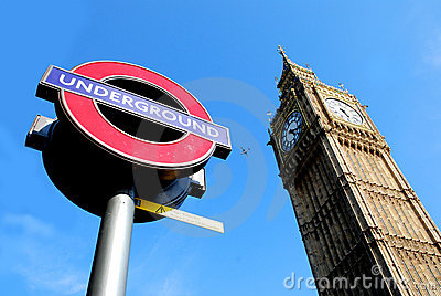 London Big Ben and underground / tube / metro sign Editorial Stock Image